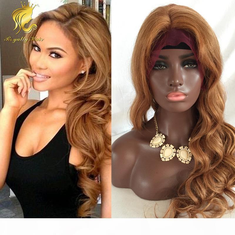 Venda quente # 27 glueless cabelo cheio peruca humana 130 mel densidade peruca frente loira para as mulheres da moda Sem derramamento emaranhado livre