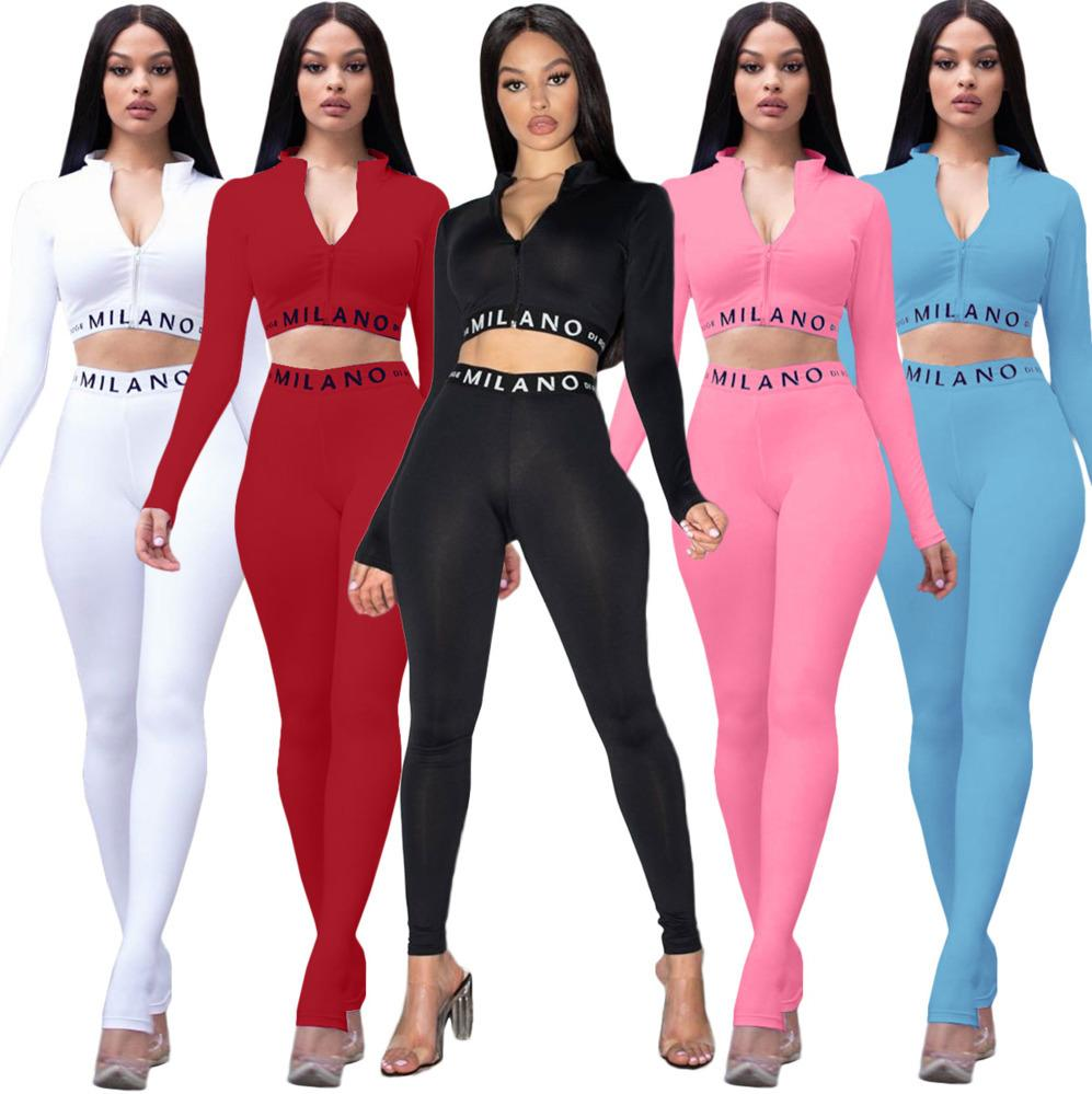 Sexy Women 2 Piece Outfits Designer Fashion Letter Print Solid Long Sleeve Zip Top Pencli Pants Set Ladies Casual Multicolor Suits Fall New