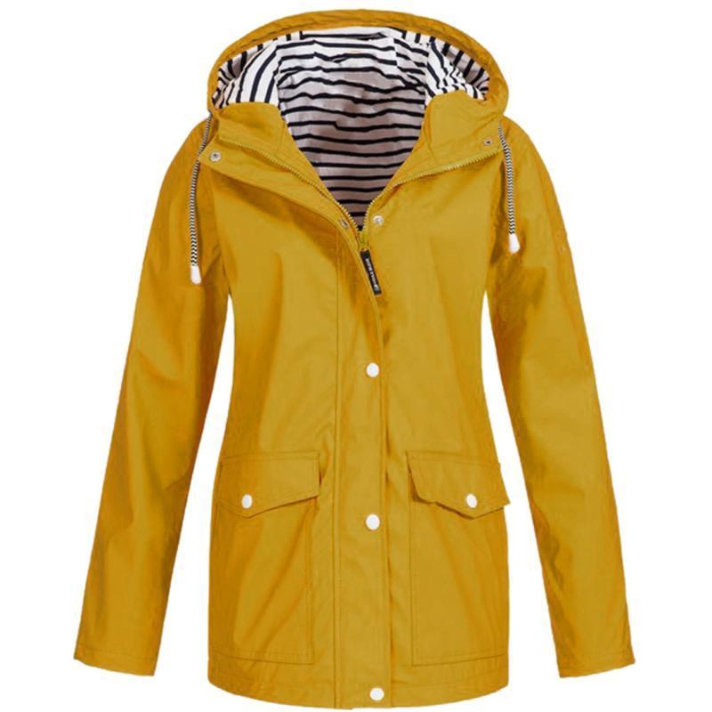 Женщины Ветрозащитный Палат Плащ Плюс Размер Водонепроницаемый Капшон Капшон Тур Пальто Нерясштабная Куртка Женщины Сплошной с капюшоном @ 35