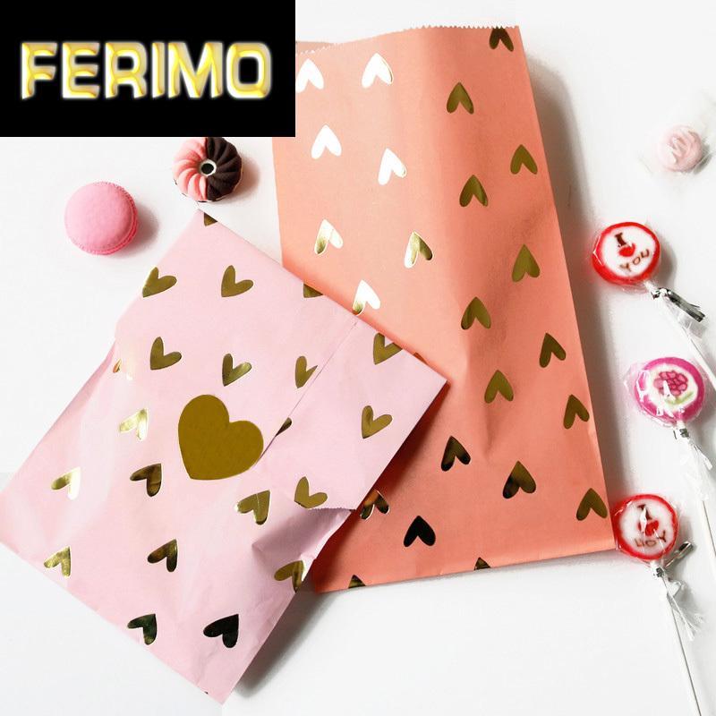 24sets золотой фольги Сердце бумажный мешок подарка венчания бумажный мешок для подарков Birthday Party украшения Дети Конфеты Печенье Сумки