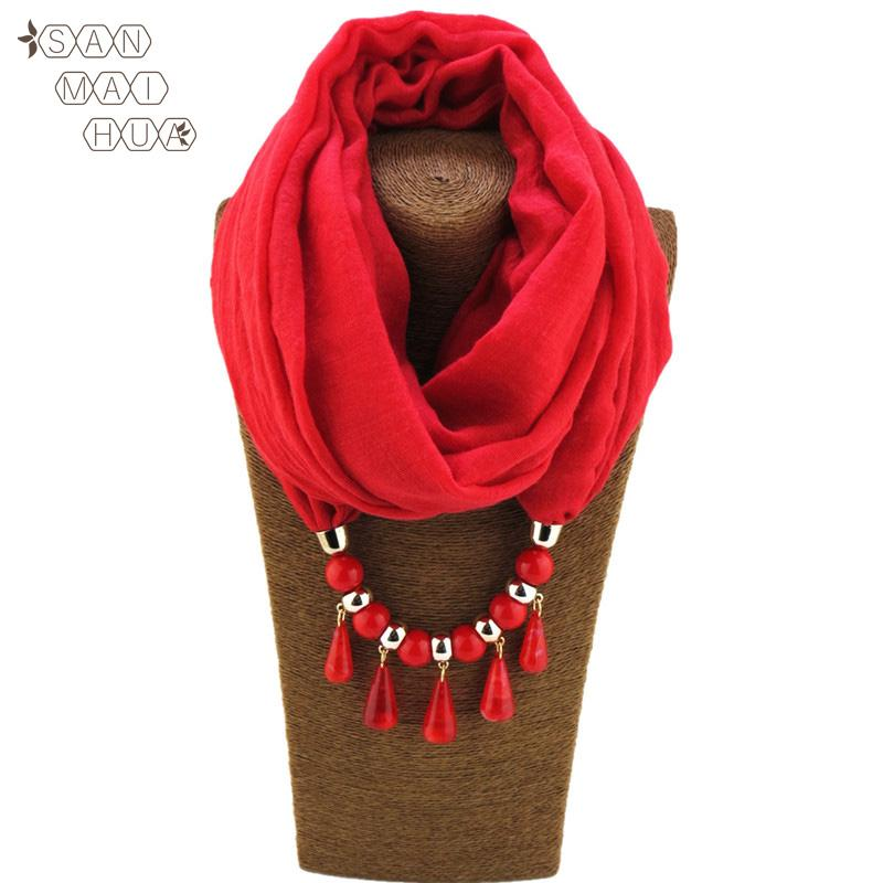 2020 Newst Charm Necklace Jewelry Pendant Scarf for Women Solid Cotton Female Wraps Water drops Soft Hijab Muslim Head Scarves