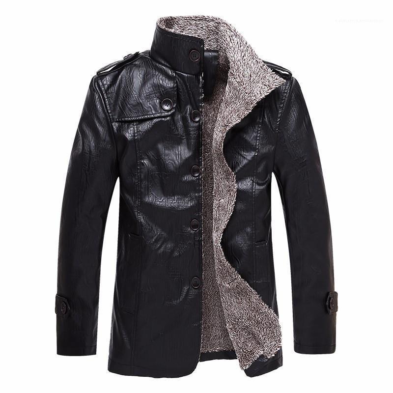 Coat Erkek Moda Sıcak Lüks PU Deri Ceket Erkek Tasarımcı Deri Ceket Uzun Stiller Kalın Kış