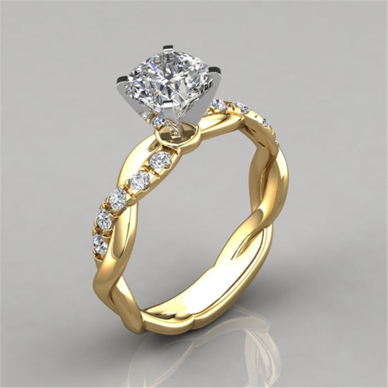 Новые моды для женщин, розовое золото два тона подарок помолвка невесты свадьба кольцо день рождения ювелирные изделия оптом
