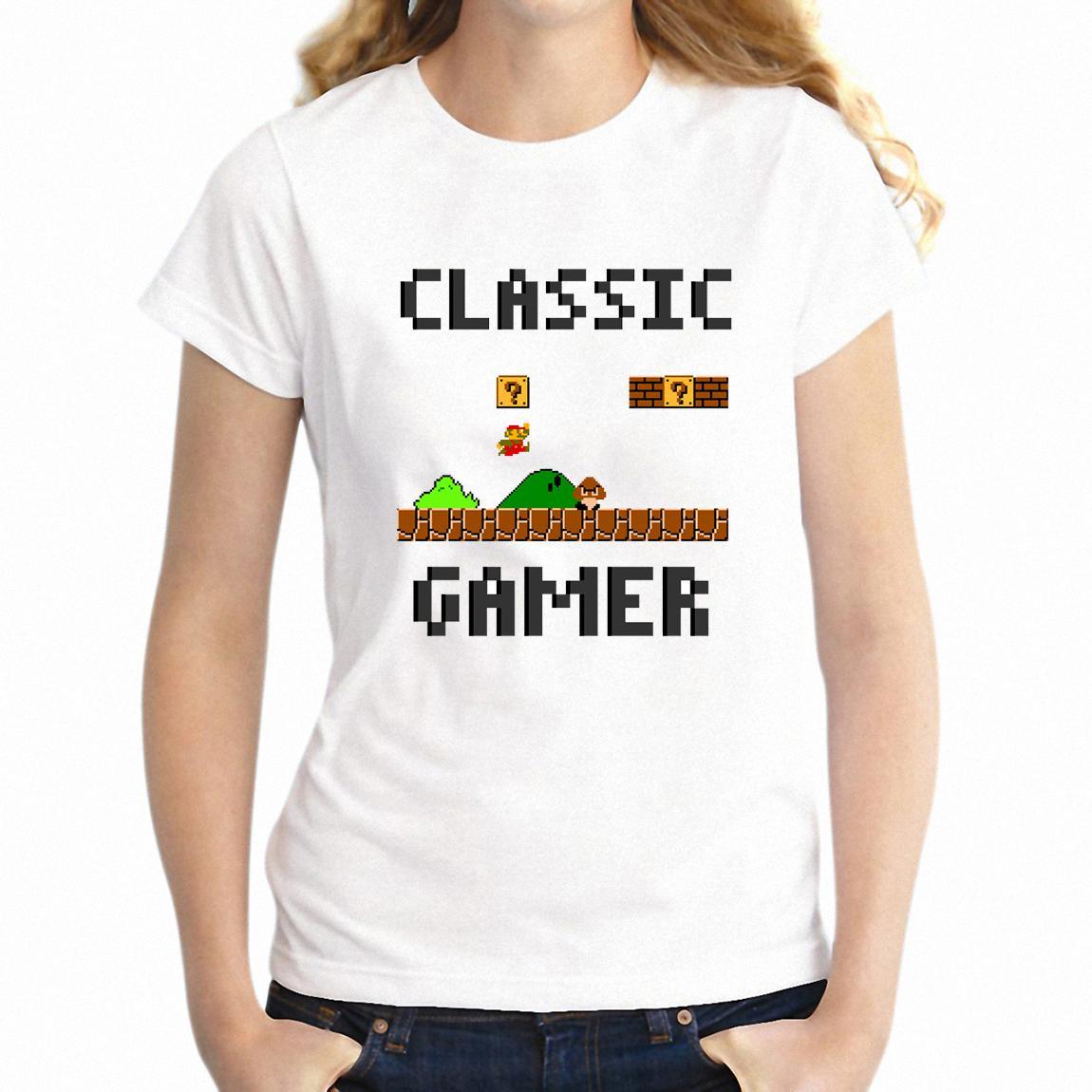 Новый короткий рукав O-образным вырезом Женская майка Классический Gamer Марио Gamer девушки Tshirt Hip Hop Tops Tee Harajuku Streetwear