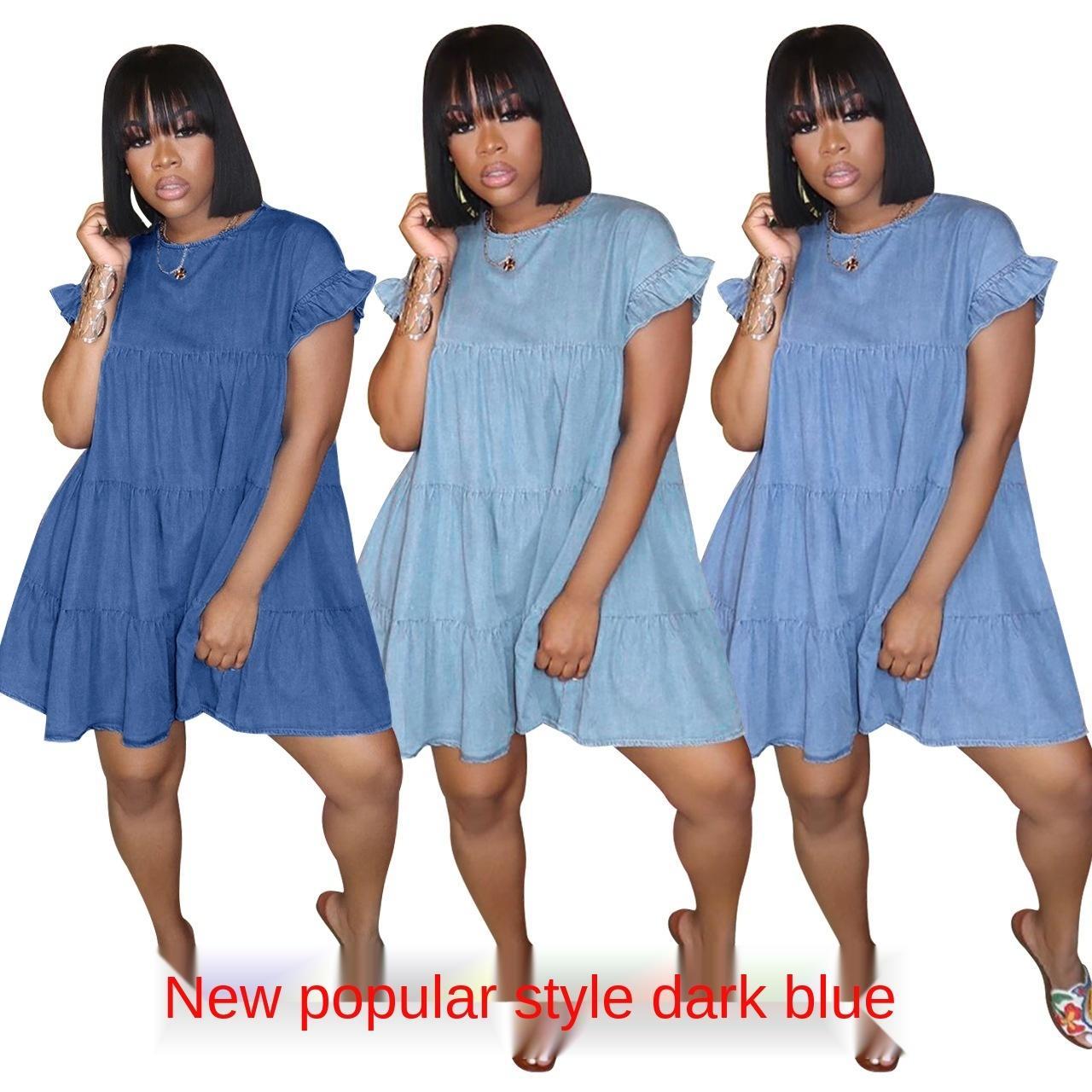 1 Cinghia abito in chiffon blu del denim pieghettati senza maniche delle donne senza maniche con scollo a V Midi