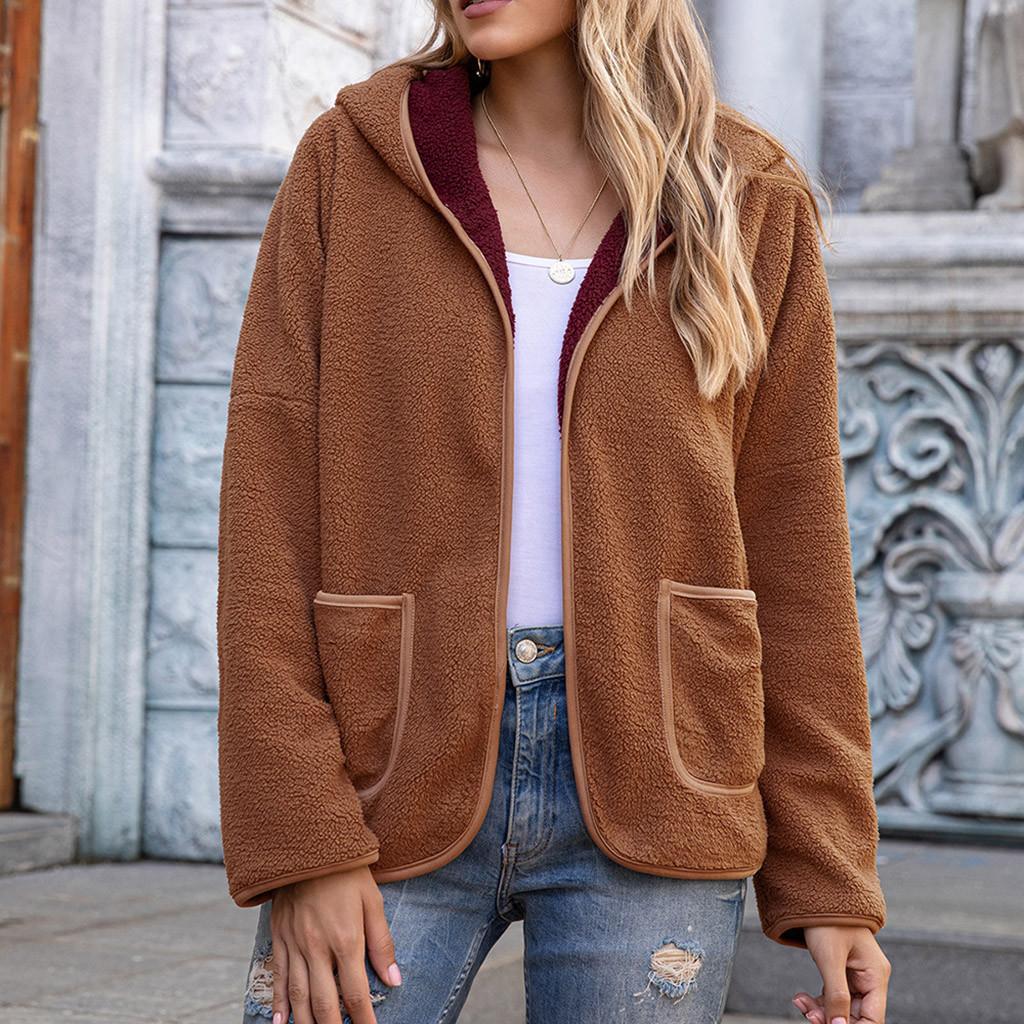 Las mujeres de moda con capucha del remiendo del abrigo de lana invierno de las señoras manga larga felpa bolsillos de la chaqueta de la cremallera ocasional de las mujeres Tops Teddy Outwear # 3 T200917