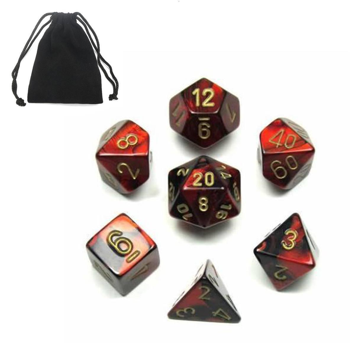 Regalo Dice acrilico 7Pcs Polyhedral giocattolo del gioco Dadi Bonus per DnD TRPG RPG bambini la matematica educativo digitale con Storage Bag