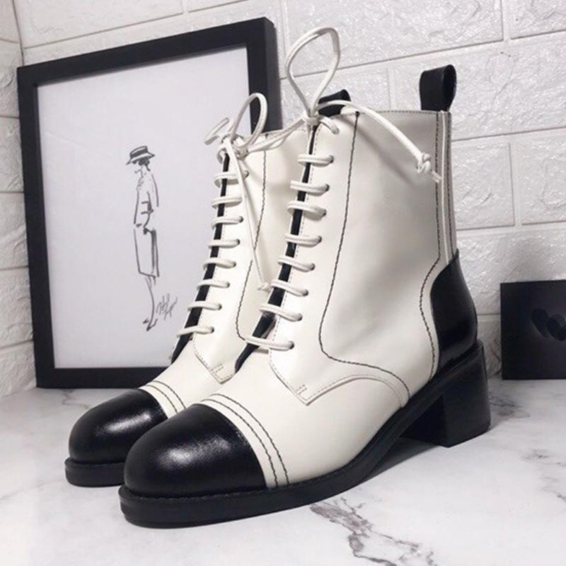 European Station Autumn And Winter Martin Boots Color Matching Leather Women Boots Thick Heel Round Toe Lace Up Mid-Heel Short Boots