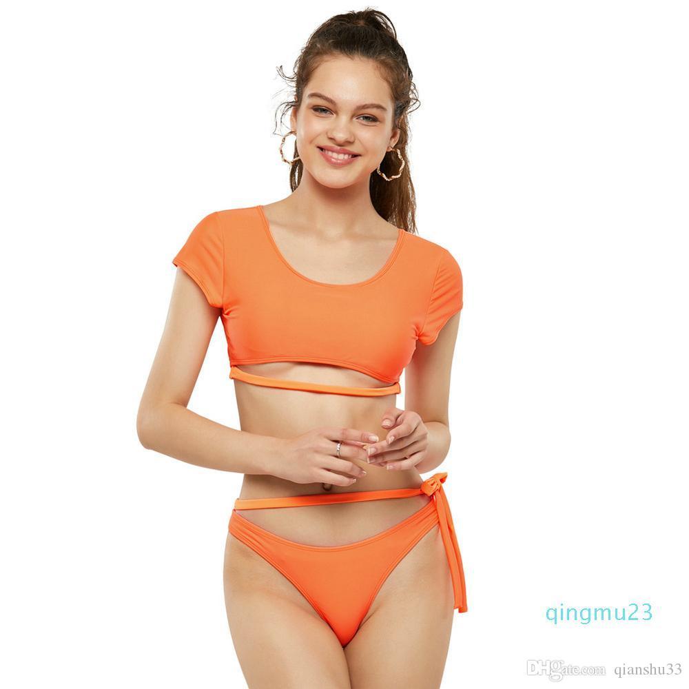 تقسيم أوروبا وأمريكا الإناث ملابس السباحة مثير جديد مفتوح الظهر بلون بأكمام قصيرة مفتوحة الظهر الدانتيل متابعة مثلث بيكيني الصيف على شاطئ البحر TW