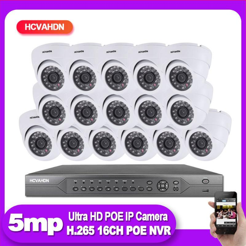 H.265 CCTV Video Surveillance IP Camera System 16ch 5MP 4K POE NVR Kit Outdoor/Indoor home Security Monitoring Camera set ONIVF