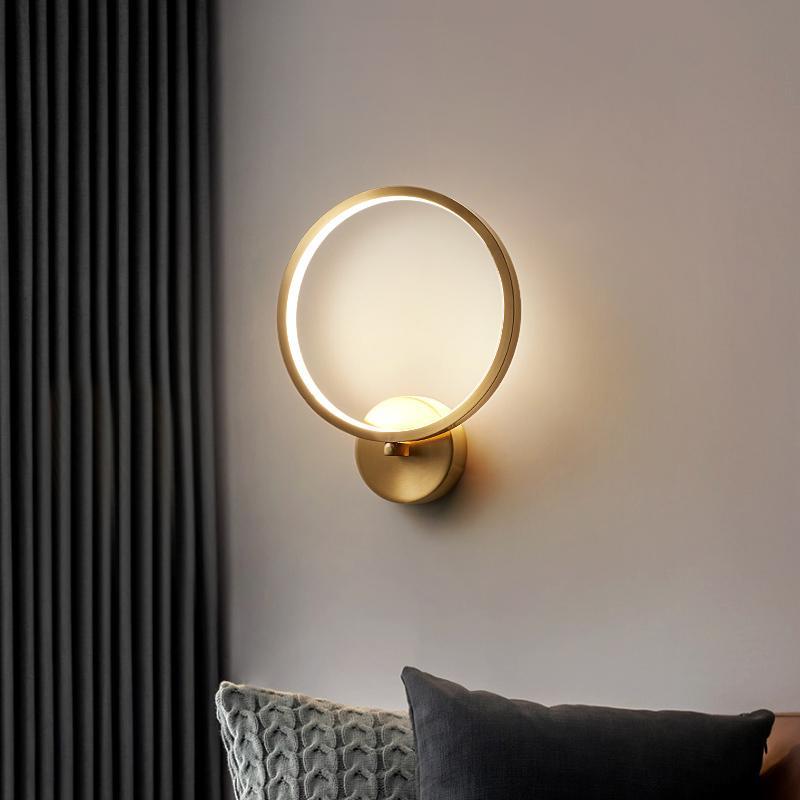 Jmzm or ronde Abat mur LED Lampe de chevet pour chambre Décoration murale fond Nordic Lights Translucide