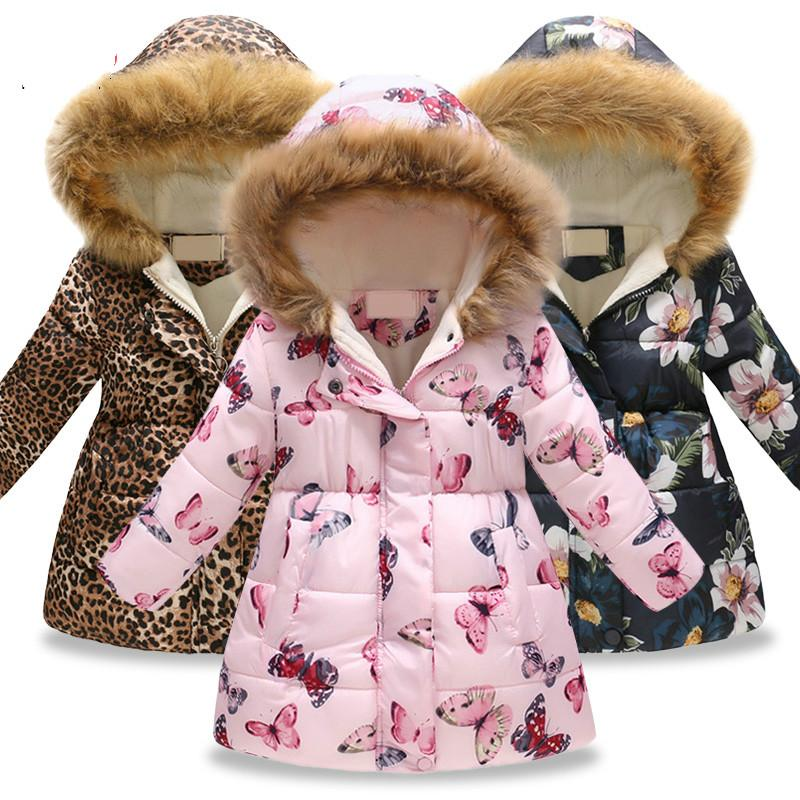 2020 Children's Winter Jacket Girls Warm Cotton Winter Jacket Coat Butterfly Flower Hooded Outerwear Coat Girls Clothes DC149