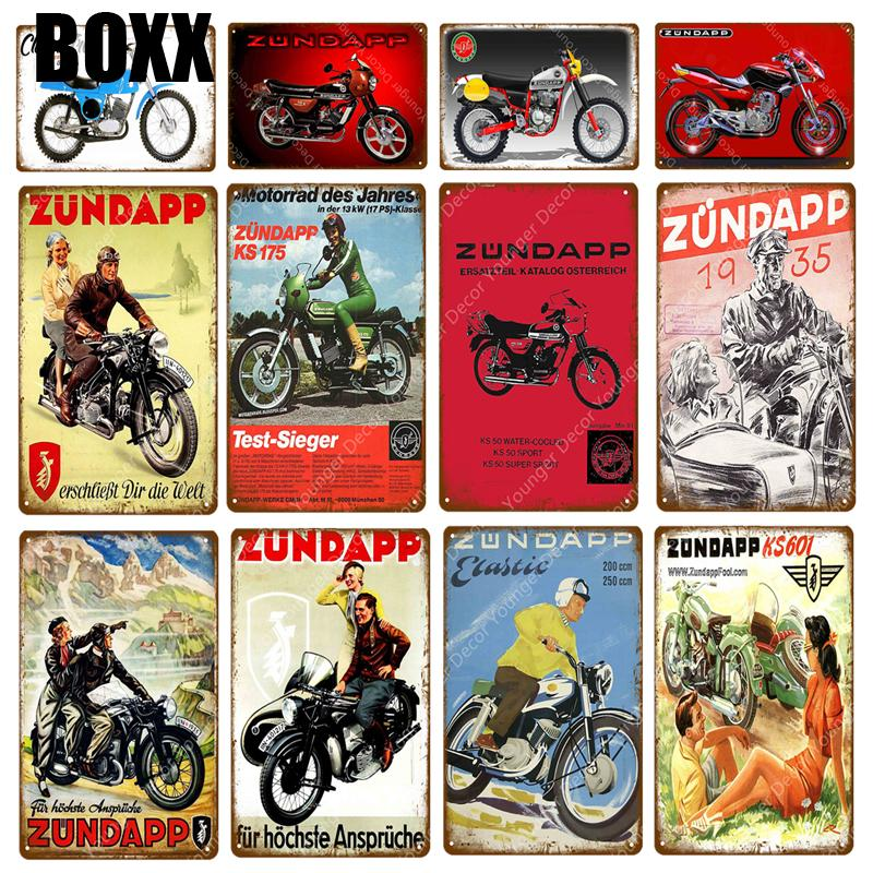 Classic Zundapp Motorcycles Metal Plate Tin Signs Vintage Metal Poster Garage Club Bar Pub Wall Decoration Home Decor Plaque
