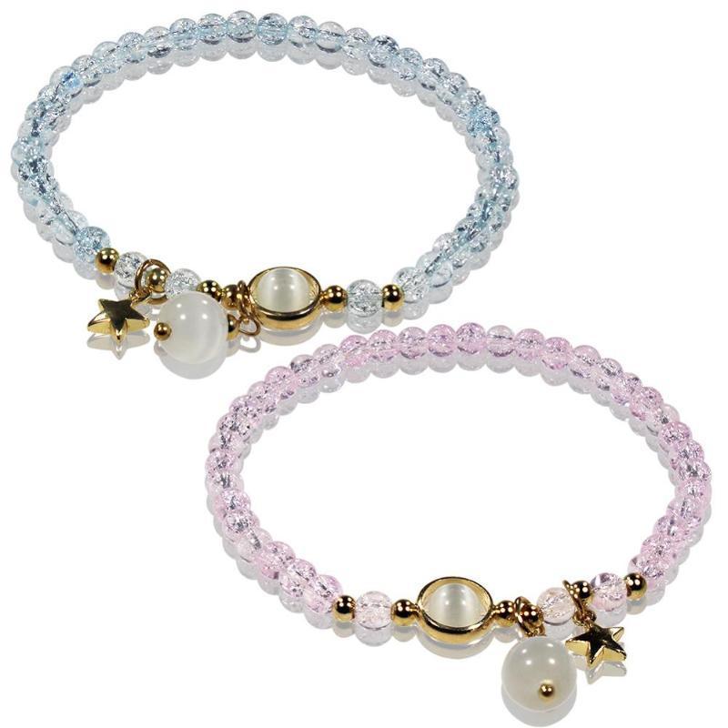 4MM Popcorn Crystal Stretch Bracelet Handmade Beaded Star Charm Women Elastic Bracelets Wholesale TR1083