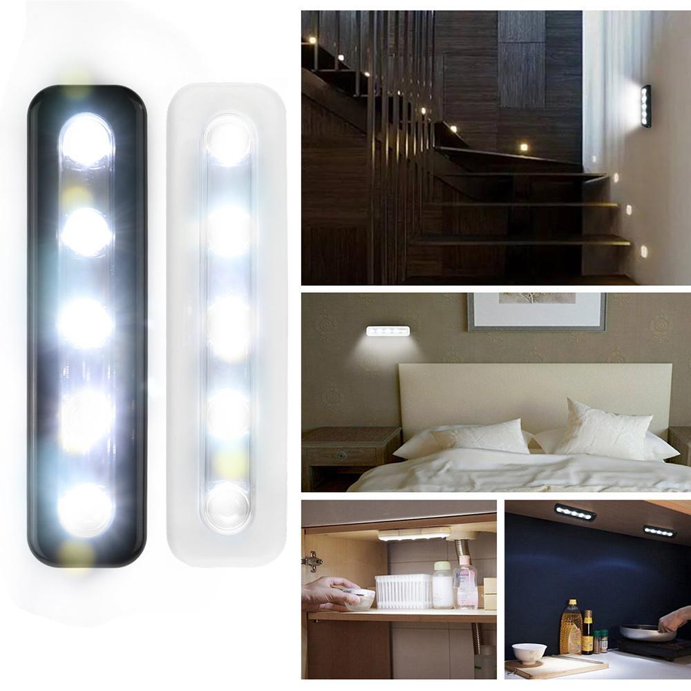 cgjxs Mini 5 LED-Kabinett-Licht mit anhaftender Aufkleber-Lampe für Küche Schlafzimmer Schrank Fach-Wandschrank Schrank Beleuchtung