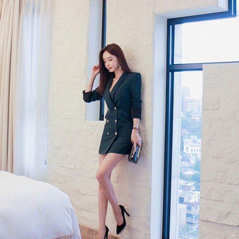 Lady Escritório 2020 Suits New Double Breasted Mulheres coreano de Slim manga comprida Female Fashion Blazers Plus Size elegantes I3rI #