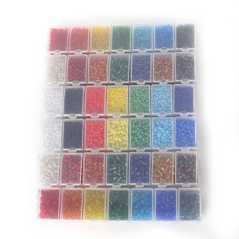 NiceBeads 1set 7 Cores 2 milímetros 3 milímetros 4 milímetros Semente Crystal Glass Beads Checa Spacer kit contas para fazer jóias DIY