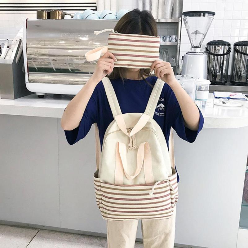 2pcs / set Kadınlar Country Style Çizgili Tuval Debriyaj Genç Kızlar Okul çantaları Moda Günlük Gezi Günlük Omuz Çantaları Debriyaj