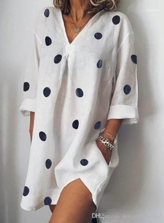 Полька Dot Сыпучего Сплит платье Мода Женщина одежда 5XL женщин лето V-образный вырез платье Повседневного