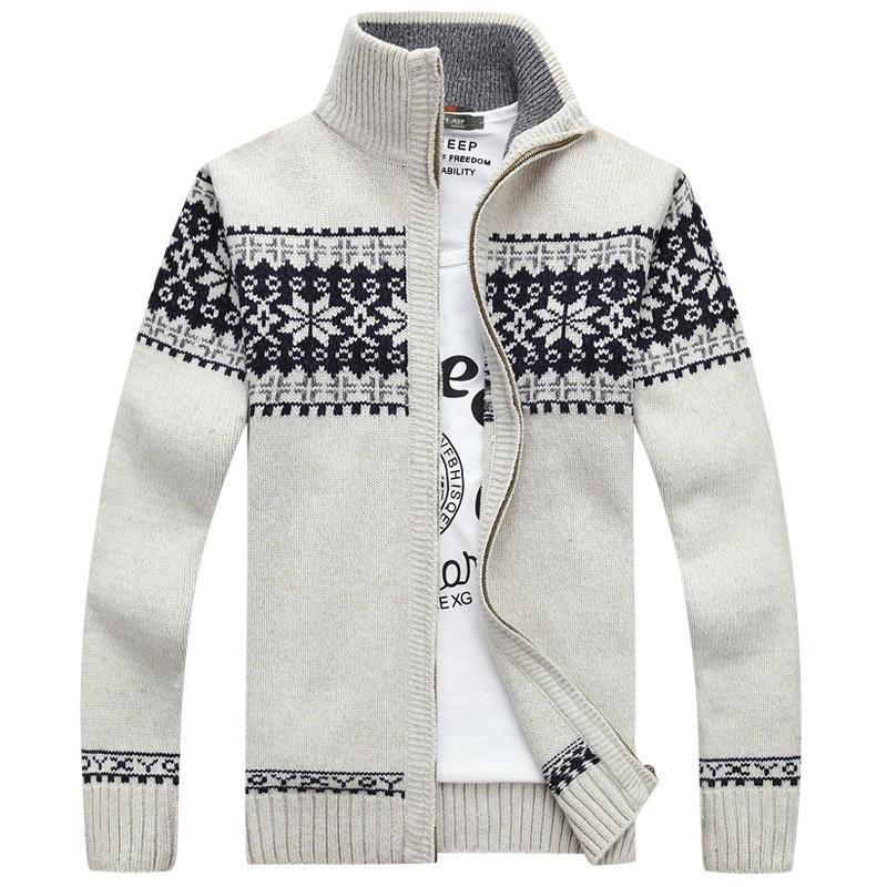 Men's Sweaters Supply Cardigan Sweater Coat Stylish Guy's Large Size Korean Jacquard Autumn Factory Price Wholesale