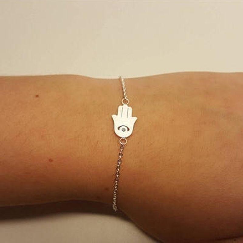 Collegamento, catena buona fortuna fascino mano di fatima braccialetti per le donne protezione della tacchino tuta BFF gioielli Hamsa malvagia occhio talismano braccialetto femme pulseres