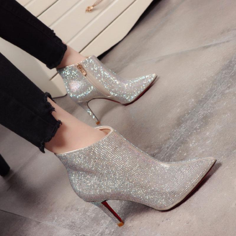 Rhinestone Shoes casamento para as mulheres Luxo Salto Alto Top Quality tornozelo comprimento sapatos nupcial desgaste do inverno