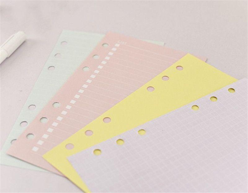 Produtos de papel de notebook frouxos de folha A6 Papéis de índice colorido Papéis de índice para o planejador diário do estudante Presente prático