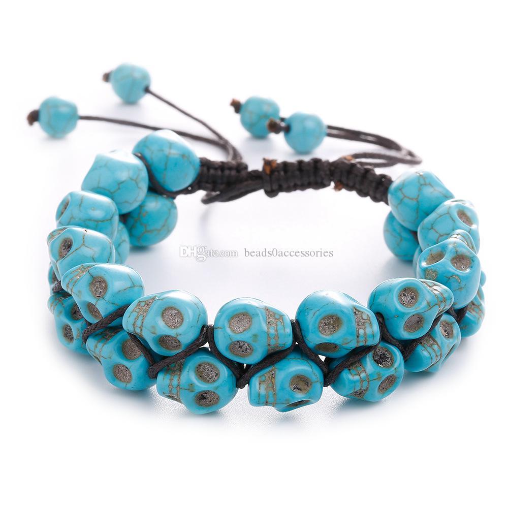 DOUBLE ПРЯДИ CKULL бирюзы LUCKY браслет, натуральный камень браслет, Healing череп бисер браслет