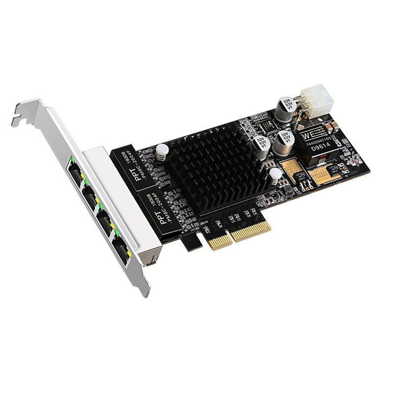 4 Quad-Port Intel I350 RJ45 POE-Netzwerkkarte PCI-E PCIe 4X-Netzwerkadapter 10/100 / 1000Mbps