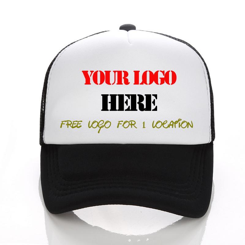 Encargo del casquillo del camionero insignia libre del texto de impresión de fotografías Hombres Mujeres malla Snapback ajustable personalizado envío Gorras
