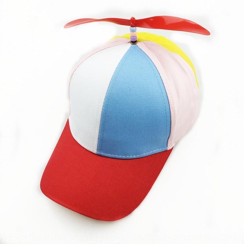 sombrero de los nuevos niños kSyVb creativo de primavera y verano con el molino de viento sombrero de libélula de bambú de la hélice arco iris de color entre padres e hijos hélice Baseba