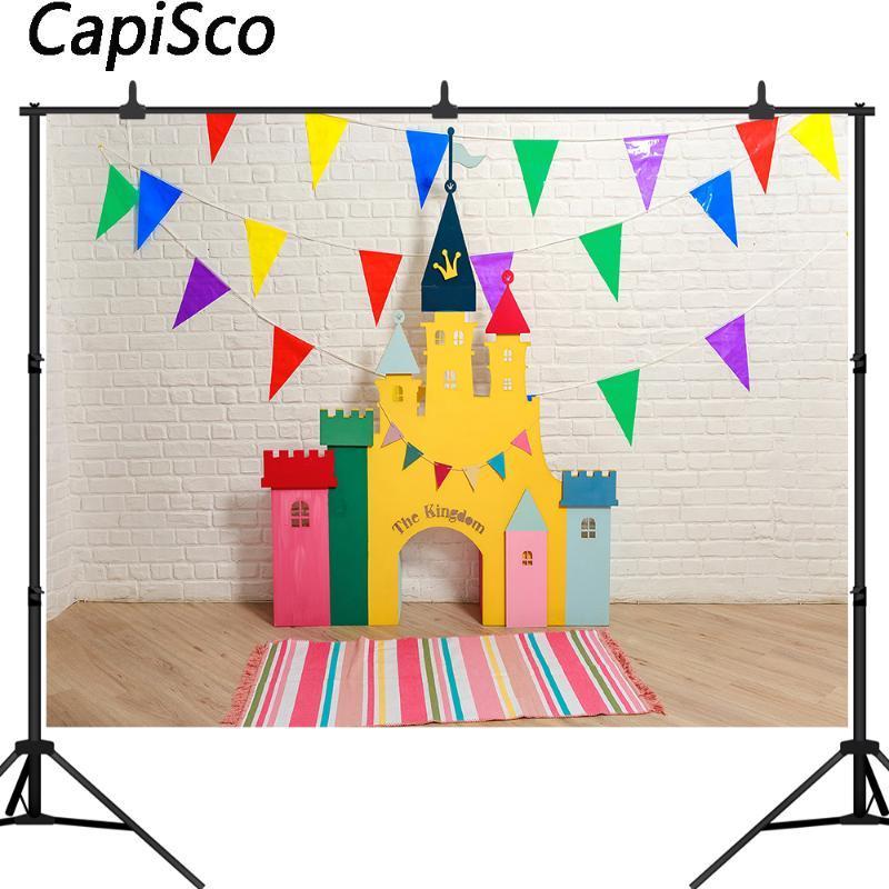 Capisco Fotografia Sfondo Unito Castle bianco mattoni per bambini festa di compleanno sfondi fotografici Photocall puntello della foto