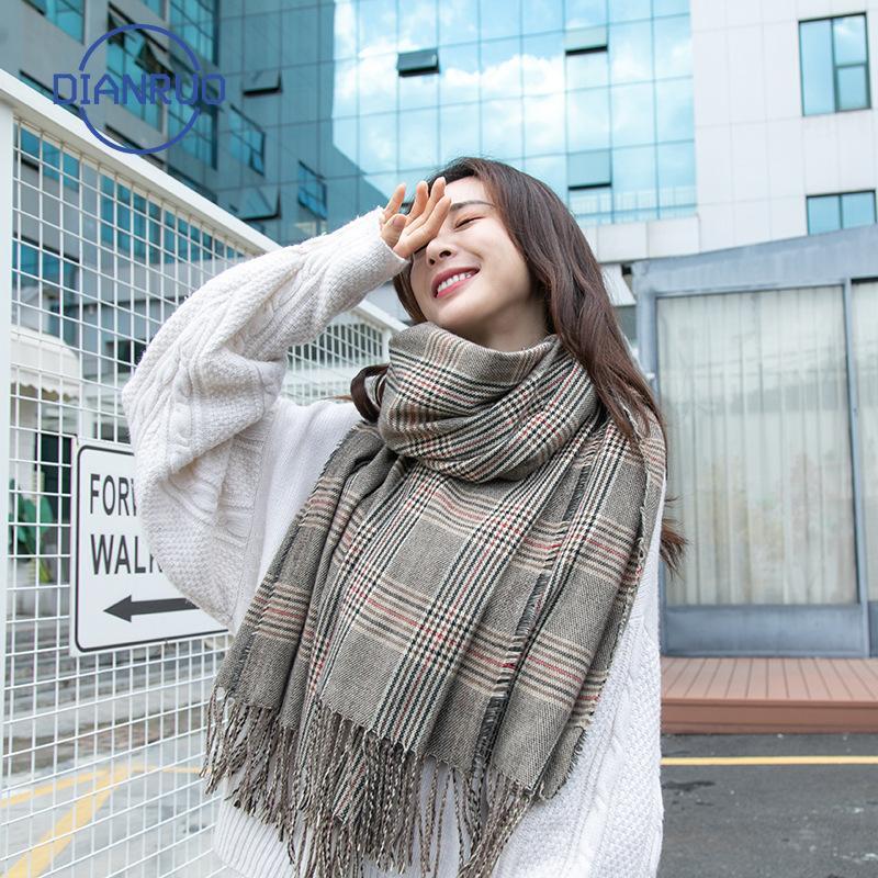 DIANRUO neue Frauen Polychromatic Tasselsscarf Fashion Plaid Winter-Schals für Damen Kaschmirschals Wraps Warm Neck N320