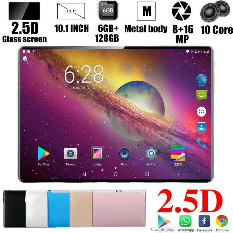 2020 Cadeaux Tablet 10.1 pouces Tablet PC Android 9.0 Octa RAM de base 6GB ROM 128GB 3G / 4G LET Smart Phone Android WiFi Comprimés 10