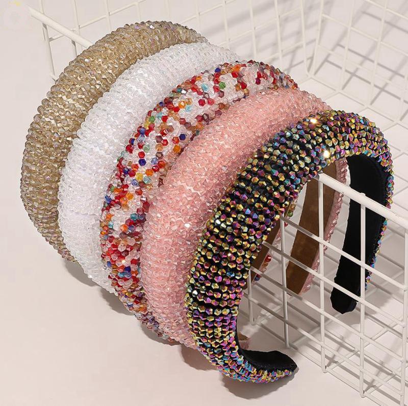 Kristallhaar-Band-Luxus-Haar-Bänder Glänzend Padded Diamant Stirnband Frauen Kopfbedeckung Kopfschmuck Hochzeit Boutique Mädchen Haarschmuck AHC2123