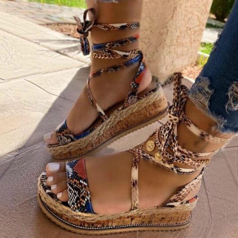 Été Femmes Serpent Sandales Talons Bracelet cheville Croix dentelle Peep Toe 2020 Beach Party Mode pour dames Chaussures Zapatos De Mujer Y200620