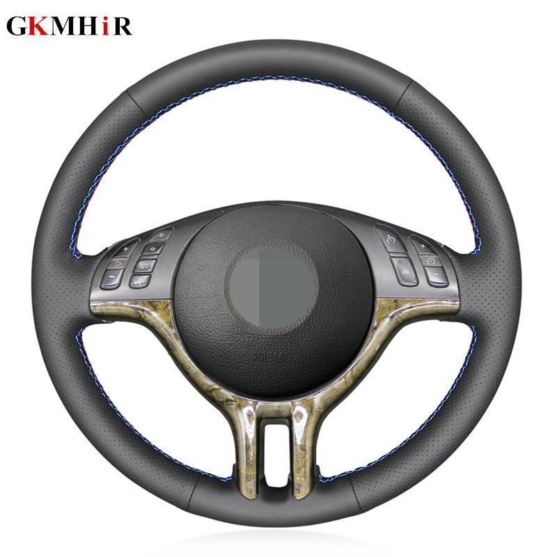cosido a mano de cuero artificial negro bricolaje Volante del coche de la cubierta para el 318i 325i 330ci E39 E46 E53 X5 Z3 E36 / E36 7/8
