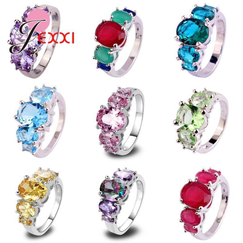 Top Quality 925 gioielli in argento Sterling anelli di nozze Anel per le donne ragazze Shiny cubico zircone multi-colore facoltativo di vendita al dettaglio