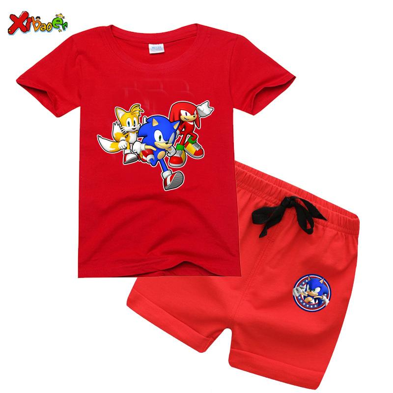kids toddler boy summer clothes Cartoon sonic the hedgehog T shirt Pants Baby girl Sport Suits children girls clothes 8 years Y200919