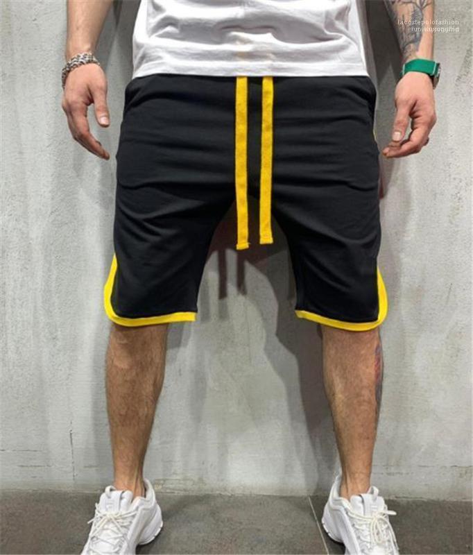 Malla suelta de lazo para hombre Pantalones cortos de verano longitud de la rodilla Niños Pantalones cortos de la manera masculina ropa con cierre de cremallera
