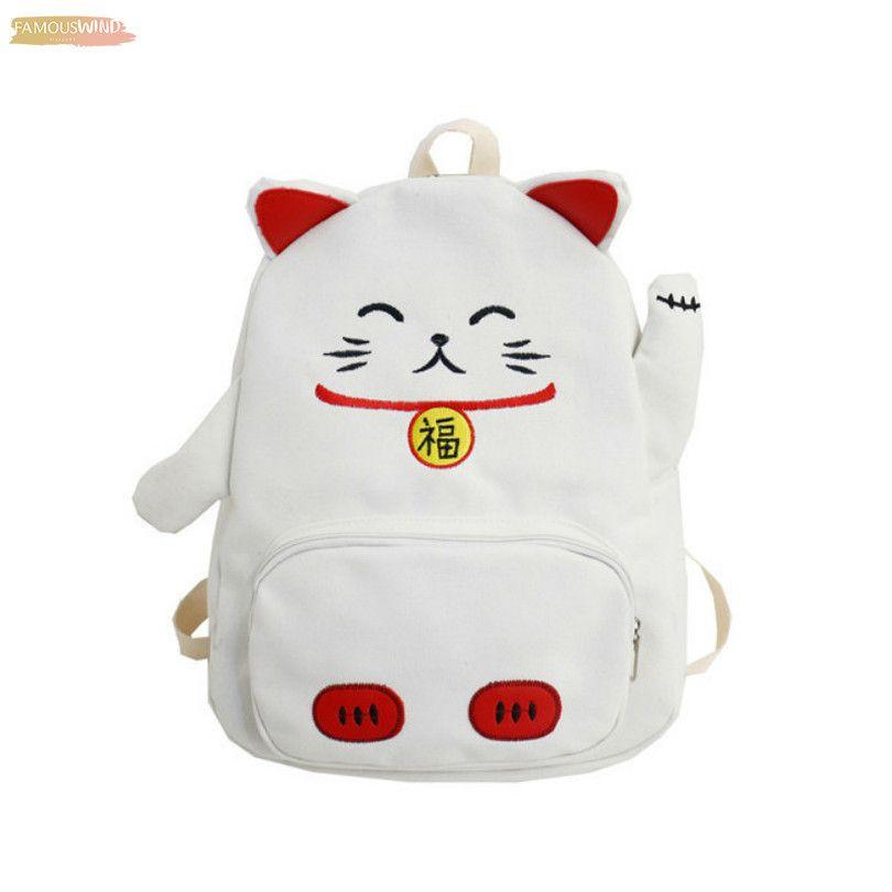 Lucky Cat Shoulder Bag For Women Girls Canvas Cute Cartoon Mini Messenger Bag Animal Shape Teenager Student Lovely Canvas Pack Bags New
