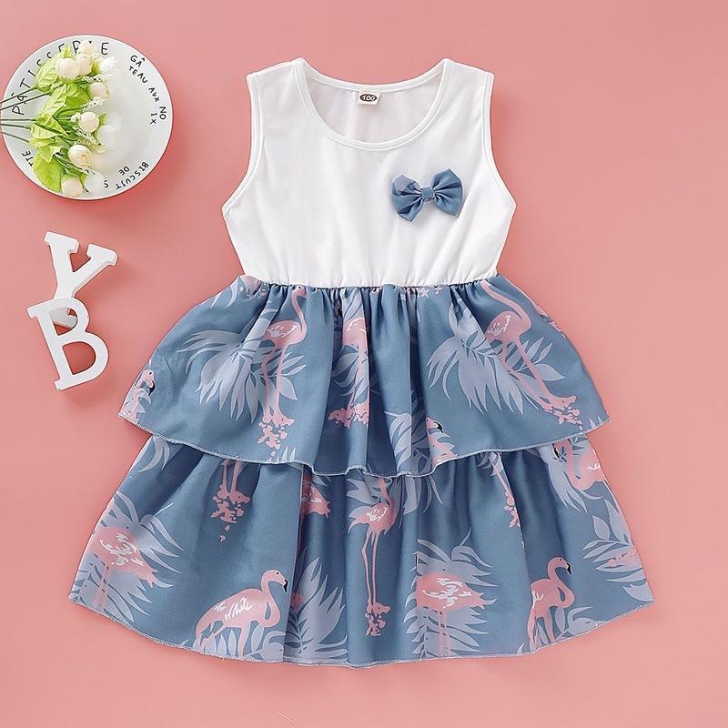 Vestidos de niña HIPAC 2021 Ropa de niña Girlymax Vestido de verano Algodón de algodón con la longitud de la rodilla de estilo europeo y americano arco a línea sin mangas