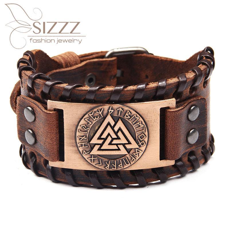 Bracelet en cuir nordique rétro rétro d'usineBangles pour hommes bracelets de charme