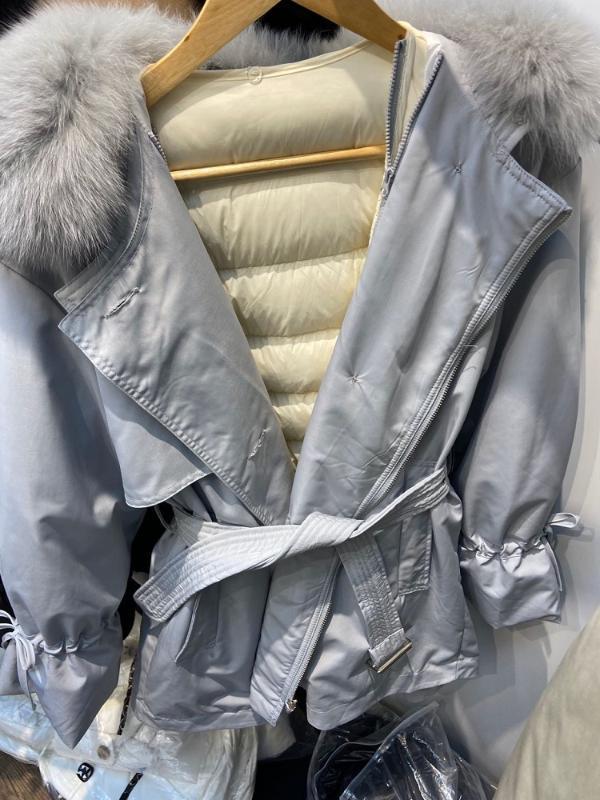 Mujeres de invierno elegante de la manera con la correa de botones de cuello de la piel hacia abajo cubre a la hembra de la pajarita de la manga de la cremallera chaqueta abajo Prendas de abrigo Chicas Chic