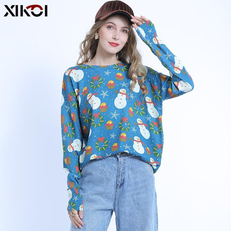 Venta caliente para mujer de impresión muñeco de nieve jersey de manga larga suéter flojo diseñador suéter de la Navidad