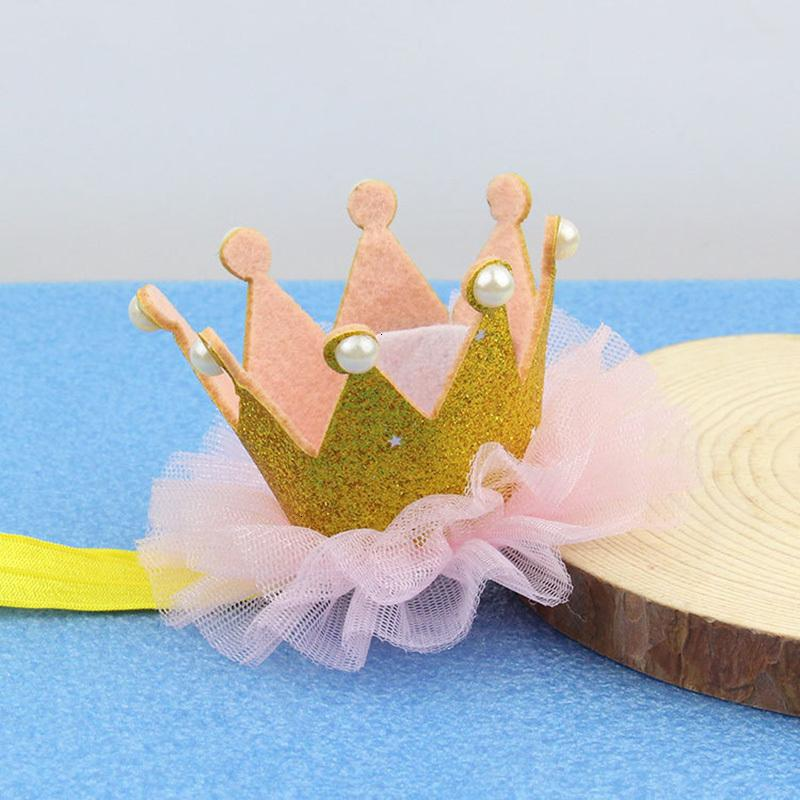Carino Pearl ragazza dei capretti di colore rosa dell'oro Priness Corona Numero 1 ° Anno Old Party Hat glitter compleanno fascia