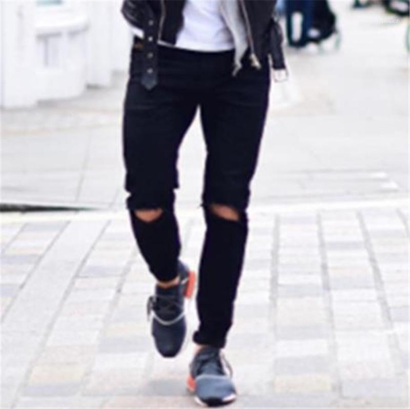 European American Mens Jeans-Modedesigner-Knopf Reißverschluss mittlere Taillen-Schwarz zerrissene Jeans-Fashion Street Mens Jeans