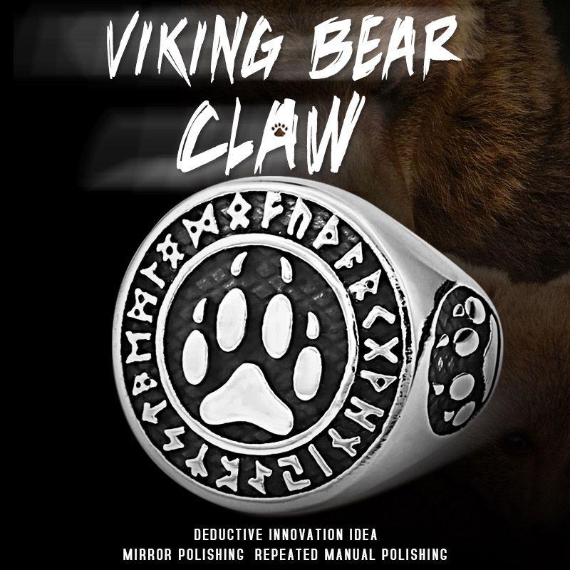 Beier 316L naso acciaio viking anello uomini Orso rune parola Odin s' Simbolo Amuleto mito scandinavo LR618 gioielli
