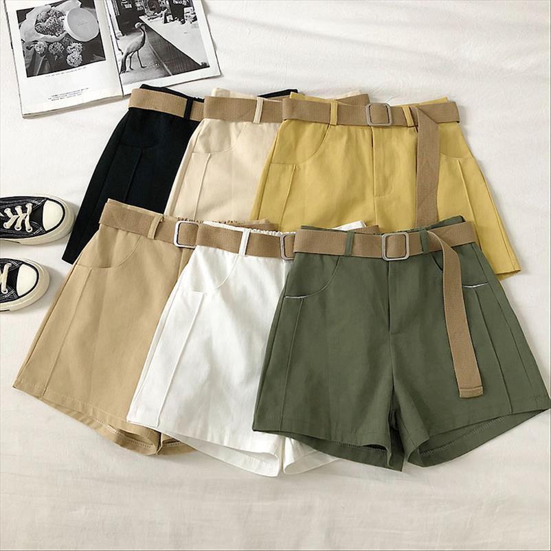 Fashion Style Safari Short Cool Women Punk élastique Ceinture Shorts été précarisés solide taille haute jambe large Shorts 2020