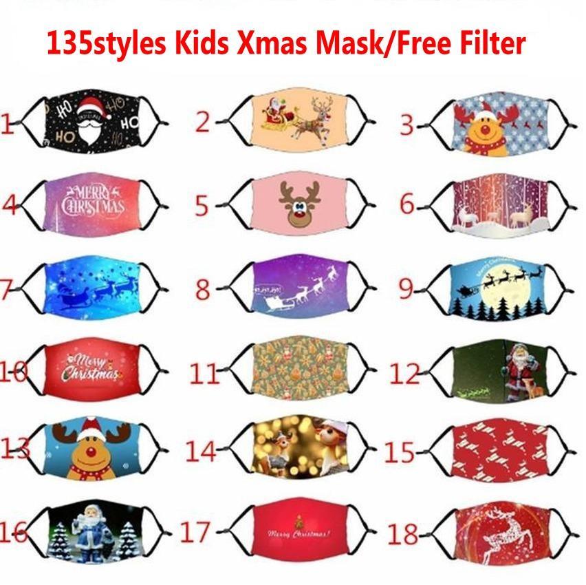 135 Styles Kids Party Halloween Noël Masques visage réutilisable Lavable Imprimé Cartoon bouche couverture coupe-vent Anti Masques poussière avec filtre